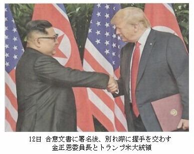トランプ大統領・金委員長握手